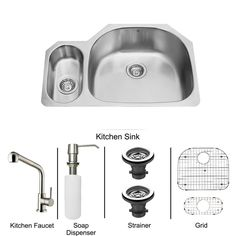All-in-One Undermount Stainless Steel (Silver) 32 in. Double Bowl Kitchen Sink in Stainless Steel