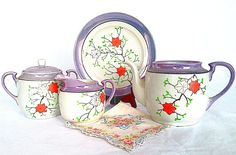 WWII Era Hand Painted  Lustreware Tea Set Made by NonabelleVintage,
