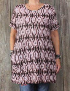 Nice LOGO Lori Goldstein Top 1x size Pink Burgundy Tye Dye Plus Pockets Hippy Boho