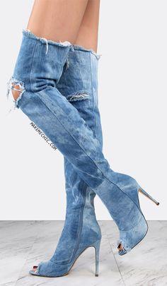 Distressed Denim Stiletto Boots DENIM