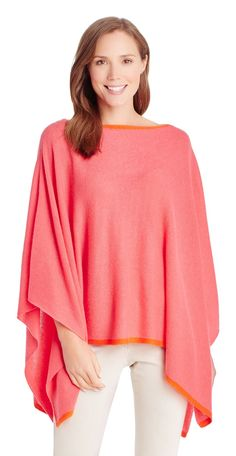 Rale Cashmere Poncho with Contrast Tipping