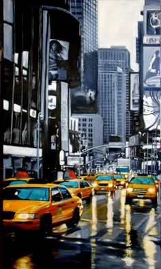 Traditional Art > Paintings > Landscapes & Scenery acrilic on canvas 180 x 100 cm wet New York Taxi, Landscape Paintings, Landscapes, Traditional Art, Times Square, Scenery, Deviantart, Canvas, Amp