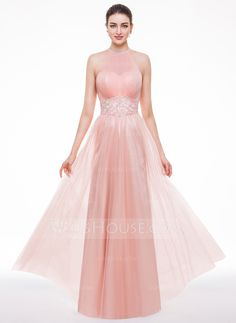 A-Line/Princess Scoop Neck Floor-Length Tulle Evening Dress With Ruffle Beading Sequins (017056524) - JJsHouse