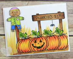 Fun pumpkin patch card created using the jar of haunts stamp set from Stampin'…