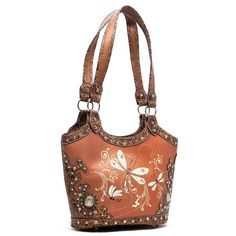 Toffee Dragonfly Western Embroidered Bucket Shoulder Bag Purse - The Rustic Shop