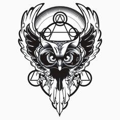 Secret Shit (Owl illustration I'm working on. Tattoo Sketches, Tattoo Drawings, Art Drawings, Owl Tattoo Design, Tattoo Designs, Buho Logo, M Tattoos, Owl Logo, Owl Illustration