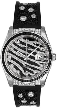 Rolex Datejust Royal Black Zebra 18k White Gold Diamond Watch Special Edition| Luxify | Luxury Within Reach