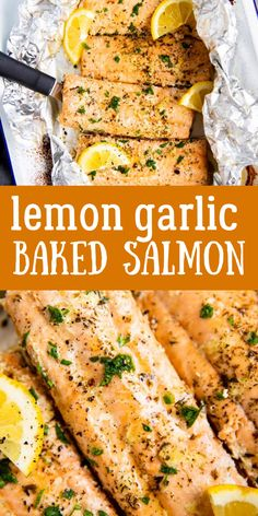 Lemon Garlic Butter Baked Salmon Lemon Garlic Butter Baked Salmon Put a quick dinner on the table with this Baked Lemon Garlic Butter Salmon recipe. It's so easy to make and tastes absolutely delicious – perfect for those busy weeknights! Baked Salmon Lemon, Oven Baked Salmon, Grilled Salmon Recipes, Healthy Salmon Recipes, Baking Salmon In Oven, Salmon Recipes Whole 30, Salmon Seasoning Baked, Salmon On Grill, Best Salmon Recipe Baked