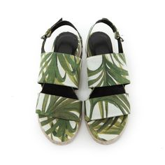 PALMERAL 'Ebor' Espadrille - White / Green - House of Hackney