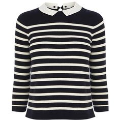 Oasis Cropped Bretton Collar Jumper, Navy ($27) ❤ liked on Polyvore featuring tops, sweaters, jumper, shirts, crop shirts, cropped sweater, navy blue sweater, collared sweater e three quarter sleeve shirts