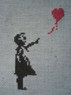 BANKSY inspired BALLOON GIRL counted cross stitch by 1ArmedScissor