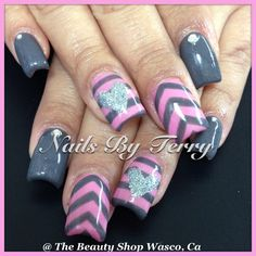 Valentine nails   Hearts & Chevron stripes