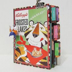 "I like to use cereal and other food boxes for student sketchbook covers....kids love them and a great way to ""upcycle"""