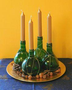 Adventi koszorú újrahasznosított anyagokból Winter Christmas, Christmas Time, Kari, Advent, Candles, Instagram, Candy, Candle Sticks, Candle