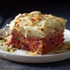 Meatloaf and Mashed Potato Pile-Up | http://www.rachaelraymag.com/recipe/meatloaf-potato-pileup/