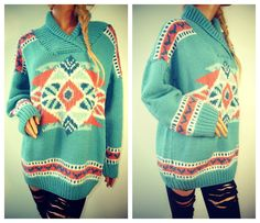 AZTEC NAVAJO Oversized Slouchy Knit Sweater.