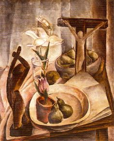 """Munn painted few still lifes, but she was inspired by paintings of apples by Paul Cézanne and often drew this subject. Munn, """"Still Life,"""" c. 1925, Art Gallery of Alberta."""