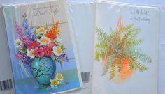 2 Vintage 40's 50's 60's Unused Sealed Greeting Cards  Card Master Birthday Wife