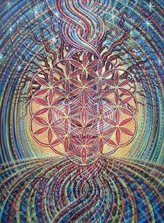 Flower of Life - Amanda Sage Yoga Studio Design, Psy Art, Visionary Art, Flower Of Life, Sacred Art, Psychedelic Art, Sacred Geometry, Geometry Art, Tree Of Life