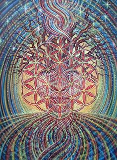 Painting: ´Flower of Life´ When peering into the cosmic soup of this existence, the questions of 'where we come from' haunts me. What is at the root of our genome? The pattern of the Flower of Life seems to be embedded in pretty much everything within the natural world. Who made us? Are we not reflections of perfection in living flesh?  --Amanda Sage amandasageart@gmail.com