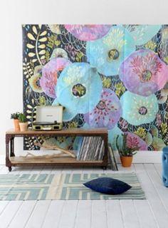 Multicoloured poppies: print trend