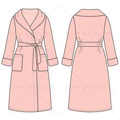 {Illustrator Stuff} Women's Bathrobe Fashion Flat Template