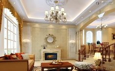 european style living room with modern ceiling design ideas on a budget and fireplace