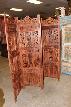 Your place to buy and sell all things handmade Room Divider Headboard, Wood Room Divider, 4 Panel Room Divider, Room Dividers, Spanish Style Interiors, Wooden Screen, Indian Furniture, Boho Room, Wooden Hand