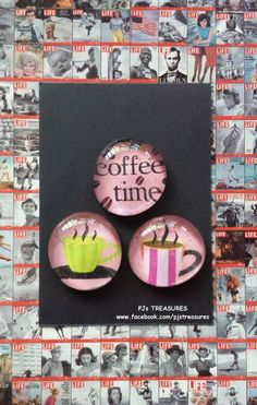 COFFEE TIME Glass Magnets (3) by pjstreasures for $2.95