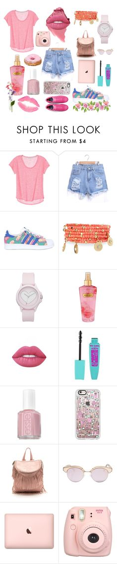"""soft colour addicted"" by qannandya on Polyvore featuring adidas Originals, Emily & Ashley, Juicy Couture, Victoria's Secret, Lime Crime, Essie, Casetify and Le Specs"