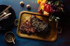 Brisket with pomegranate-walnut sauce and pistachio gremolata by Louisa Shafia from Epicurious