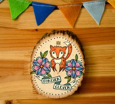 forever clever / original fox painting on wood. $40.00, via Etsy.