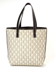 Carolina Herrera Handbag (Pre-owned Cream & Brown Monogram Canvas & Leather Tote Bag)