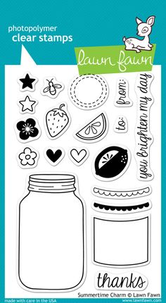 """Lawn Fawn """"""""Summertime Charm"""""""" Clear Stamp Set"""