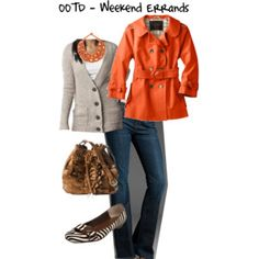 "fun fall outfit-THIS IS WHEN I WANT A ""BUY IT NOW"" option!!! Love the orange"