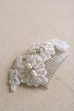 Silver Beaded Bridal Lace Hair Comb Embroidered by BelleBlooms