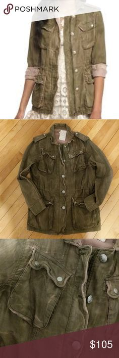 Free People Military jacket NWT NWT, army green with pink, cotton, size smallq0J.a Free People Jackets & Coats