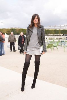 LOVE those boots with the super short skirt and leather jacket