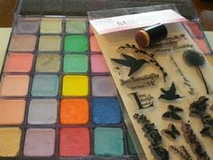 Stamping with chalk & versamark using daubers