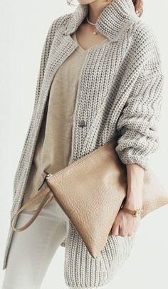 Grey Oversized Button-up Sweater