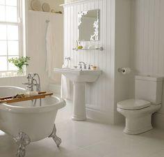 white bathroom:  clawfoot tub, pedestal sink courtesy of Brabourne Farm