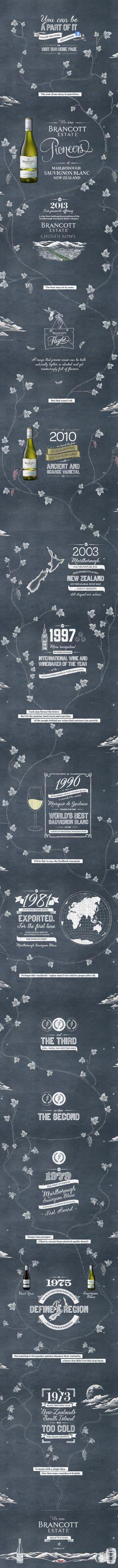 Chalkboard, blackboard illustration, website, wine, long scroll, one page website http://pioneers.brancottestate.com by @WeAreImpero