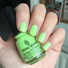 China Glaze - Grass Is Lime Greener [LE City Flourish 2014] China Glaze, Flourish, Swatch, Grass, Lime, Nail Polish, Nails, Finger Nails, Lima