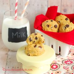 Blog post from The Sweet Chick with a great recipe for Pumpkin SoyNut Butter Chocolate Chip Cookies