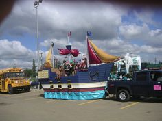 Here's a few pics of the pirate ship float we built for the small town parades near Edmonton Alberta. We've had our fun so the float is now ...