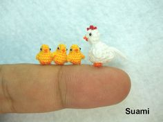 White Hen And Yellow Chicks   Micro Crocheted Chickens  di SuAmi, $125.00