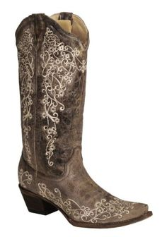 Corral Brown Crater with Bone Embroidery Cowgirl Boots - Snip Toe - My wedding boots!