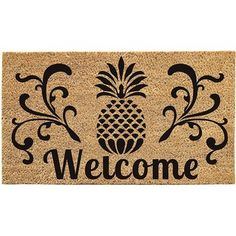 The Evergreen Flag Coir Door Mat Pineapple features a large black stamped pineapple design in the center with scrollwork accenting each side. This inviting. Cottage Furniture, Fine Furniture, Furniture Decor, Pineapple Design, Pineapple Print, Evergreen Flags, Evergreen Enterprises, Coir Doormat, Recycled Rubber