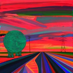 """I Remember Railroad Ave by Grant Haffner, 2014, acrylic and graphite on wood panel, 12"""" x 12"""""""