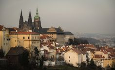Another stunning view of the Prague Castle. Prague Castle, Romanesque, The St, Stunning View, Paris Skyline, Cathedral, Country, Garden, Travel